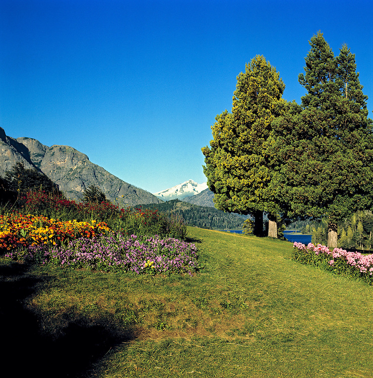Well-tended flower gardens line the grounds at Llao Llao, Nahuel Huapi National Park, Argentina.
