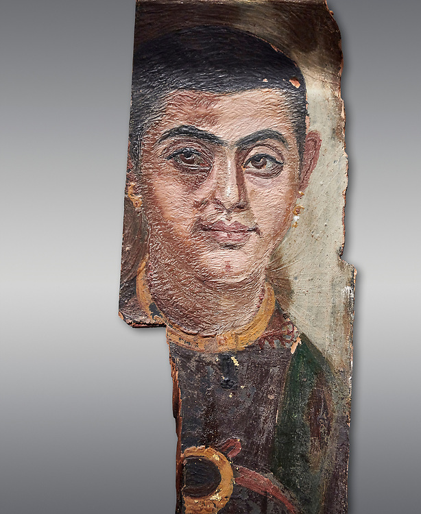 Egyptian Roman mummy portrait or Fayum mummy portrait painted panel of a man, Roman Period, 1st to 3rd cent AD, Egypt. Egyptian Museum, Turin. Grey background;<br /> <br /> Mummy portraits or Fayum mummy portraits (also Faiyum mummy portraits) are a type of naturalistic painted portrait on wooden boards attached to Upper class mummies from Roman Egypt. They belong to the tradition of panel painting, one of the most highly regarded forms of art in the Classical world. he portraits covered the faces of bodies that were mummified for burial. Extant examples indicate that they were mounted into the bands of cloth that were used to wrap the bodies. .<br /> <br /> If you prefer to buy from our ALAMY PHOTO LIBRARY  Collection visit : https://www.alamy.com/portfolio/paul-williams-funkystock/ancient-egyptian-art-artefacts.html  . Type -   Turin   - into the LOWER SEARCH WITHIN GALLERY box. Refine search by adding background colour, subject etc<br /> <br /> Visit our ANCIENT WORLD PHOTO COLLECTIONS for more photos to download or buy as wall art prints https://funkystock.photoshelter.com/gallery-collection/Ancient-World-Art-Antiquities-Historic-Sites-Pictures-Images-of/C00006u26yqSkDOM