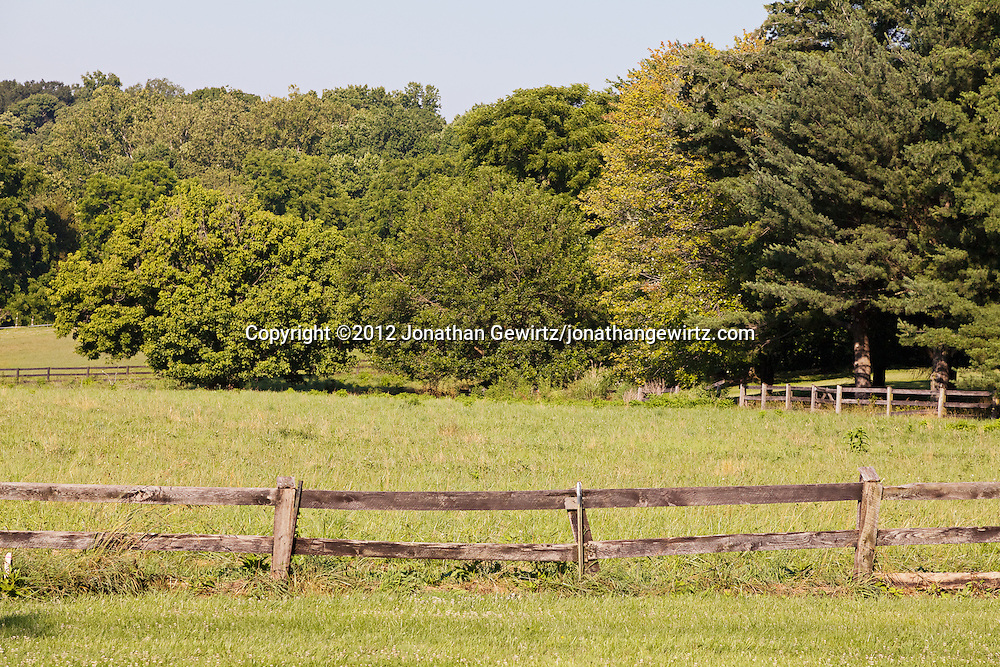 Rolling farmland enclosed by split-rail fences, Potomac, Maryland. WATERMARKS WILL NOT APPEAR ON PRINTS OR LICENSED IMAGES.