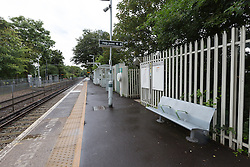 © Licensed to London News Pictures. 12/07/2016. LONDON, UK. General view of Birkbeck train platform showing that no trains are running from the station. Southern Rail have introduced an emergency timetable and cancelled many services, including all trains to London Bridge from Birkbeck station in zone 4. A tram service to East Croydon station is still running from Birkbeck station.  Commuters staged a protest against delayed, cancelled and overcrowded Southern Rail train services last night at Victoria Station in London. Photo credit: Vickie Flores/LNP