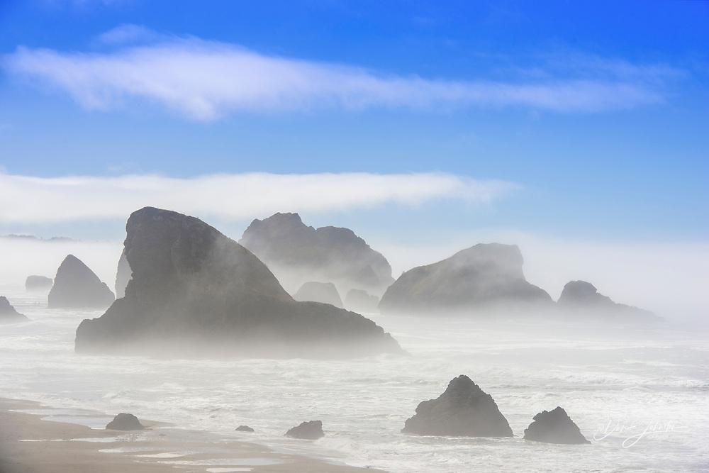 Oregon coastline with exposed rocks, Near Port Orford, Oregon, USA