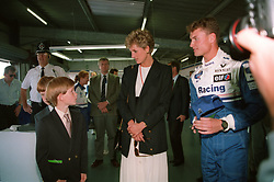 PRINCESS DIANA AND PRINCE HARRY ARE SHOWN ROUND THE WILLIAMS PITS BY DAVID COULTHARD