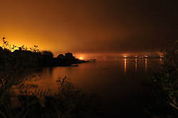 Night View of Mist in Casco Bay, South Harpswell, Maine. Credit Photography: James R Anderson