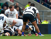 England scrum-halfLee Dickson (Northampton Saints, captain) barks instructions from the base of a ruck during the International Rugby Union match England XV -V- Barbarians at Twickenham Stadium, London, Greater London, England on May  31  2015. (Steve Flynn/Image of Sport)
