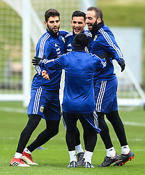 Argentina's Federico Fazio, Diego Perotti, Gonzalo Higuain and Lionel Messi during training - Mandatory by-line: Matt McNulty/JMP - 21/03/2018 - FOOTBALL - Argentina - Training session ahead of international against Italy