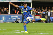 Andy Barcham of AFC Wimbledon during the Sky Bet League 2 match between AFC Wimbledon and Cambridge United at the Cherry Red Records Stadium, Kingston, England on 18 August 2015. Photo by Stuart Butcher.