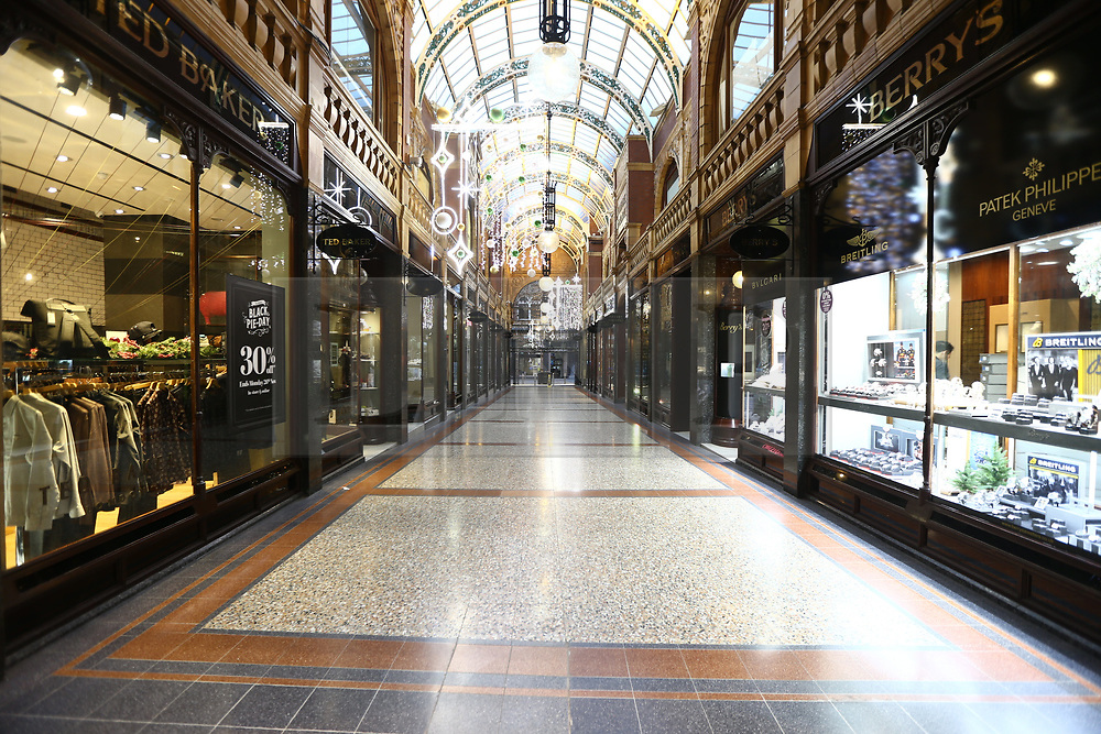 © Licensed to London News Pictures. 23/11/2018. Leeds, UK. The Victoria Gate shopping centre in Leeds city centre is empty of shoppers looking for a bargain this morning on Black Friday. Photo credit: Andrew McCaren/LNP