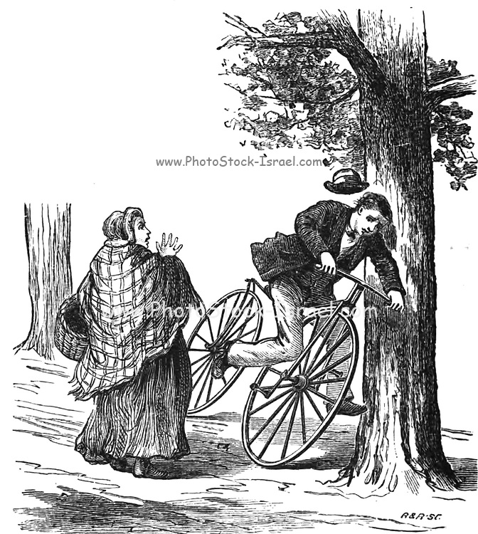 Rider and Velocipede crash into a tree from The American bicycler: a manual for the observer, the learner, and the expert by Pratt, Charles E. (Charles Eadward), 1845-1898. Publication date 1879. Publisher Boston, Houghton, Osgood and company