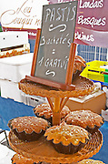 On a street market. Local cake called Pastis. Bordeaux city, Aquitaine, Gironde, France