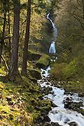 USA, Oregon, Columbia Gorge National Scenic Area, hiker on bridge at Wahkeena Falls, MR