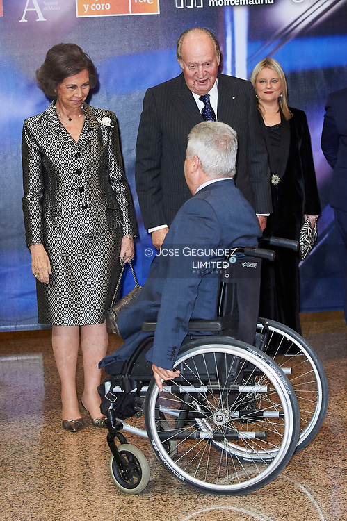 King Juan Carlos of Spain, Queen Sofia of Spain attended a Tribute Concert for Terrorism Victims at the National Auditorium on March 6, 2018 in Madrid, Spain