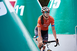 Summer Moak (USA) weaves through the buoys to sign on at Deakin University Elite Women Cadel Evans Road Race 2019, a 113 km road race starting and finishing in Geelong, Australia on January 26, 2019. Photo by Sean Robinson/velofocus.com