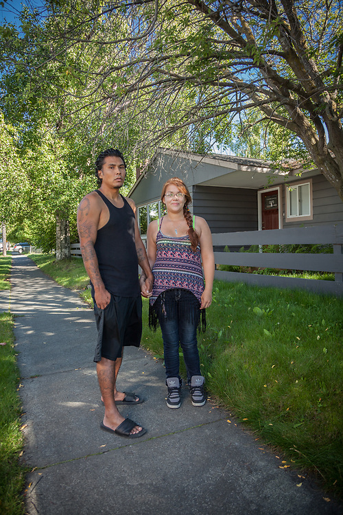 """Joe Standifer and Christina King, originally for the village of Tyonek and now living in Anchorage's South Addition neighborhood.  """"We're a mom and dad... when we grow up we want to be in love.""""  907-342-7119"""