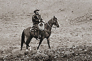 Wranglers and cowboys with horses in the wild west. Photography on a rainy morning in Spring.