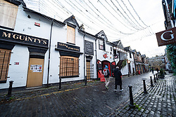 Glasgow, Scotland, UK.1 December 2020. Glasgow remains under level 4 lockdown and non essential businesses, bars and restaurants are closed. Pictured; Ashton Lane in the busy West End is very quiet with most bars and restaurants closed.  Iain Masterton/Alamy Live News