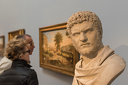 """© Licensed to London News Pictures. 01/12/2017. London, UK.  """"Bust of Caracalla"""", 1762, by Francis Harwood, (Est.  GBP80-120k).  Preview of """"Masters of Light"""", Sotheby's Old Masters Sculpture Sale which will take place on 5 December at Sotheby's, New Bond Street. Photo credit: Stephen Chung/LNP"""