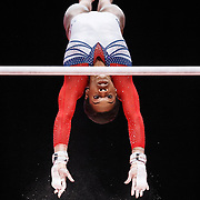 Gabrielle Douglas performs on the Uneven Bars at the 46th FIG Artistic Gymnastics World Championships in Glasgow, Britain, 31 October 2015.