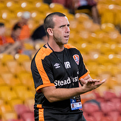 BRISBANE, AUSTRALIA - APRIL 2: James Robinson of the Roar assists during warm up before the round 25 Hyundai A-League match between the Brisbane Roar and Central Coast Mariners at Suncorp Stadium on April 2, 2017 in Brisbane, Australia. (Photo by Patrick Kearney/Brisbane Roar)