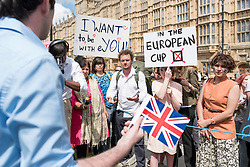 © Licensed to London News Pictures. 24/06/2016. London, UK. A group of international students carry banners outside the Houses of Parliament, worried about their educational futures, on the day Britain voted to leave the European Union. Photo credit : Stephen Chung/LNP