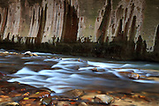 An abstract section of the 'Narrows' in Zion National Park, Utah.