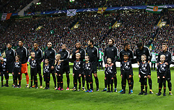 Paris Saint Germain players line up before the game