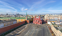 Aerial view of square at Moscow Kremlin, Russia