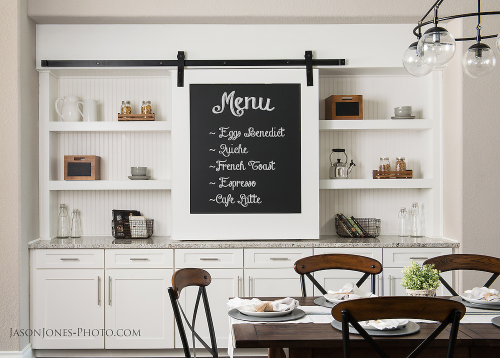 Dining or Breakfast room interior photography with table and built in shelving