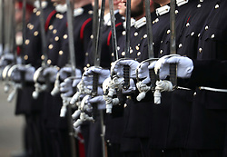 Officer cadets at The Sovereign's Parade at Royal Military Academy Sandhurst in Camberley.