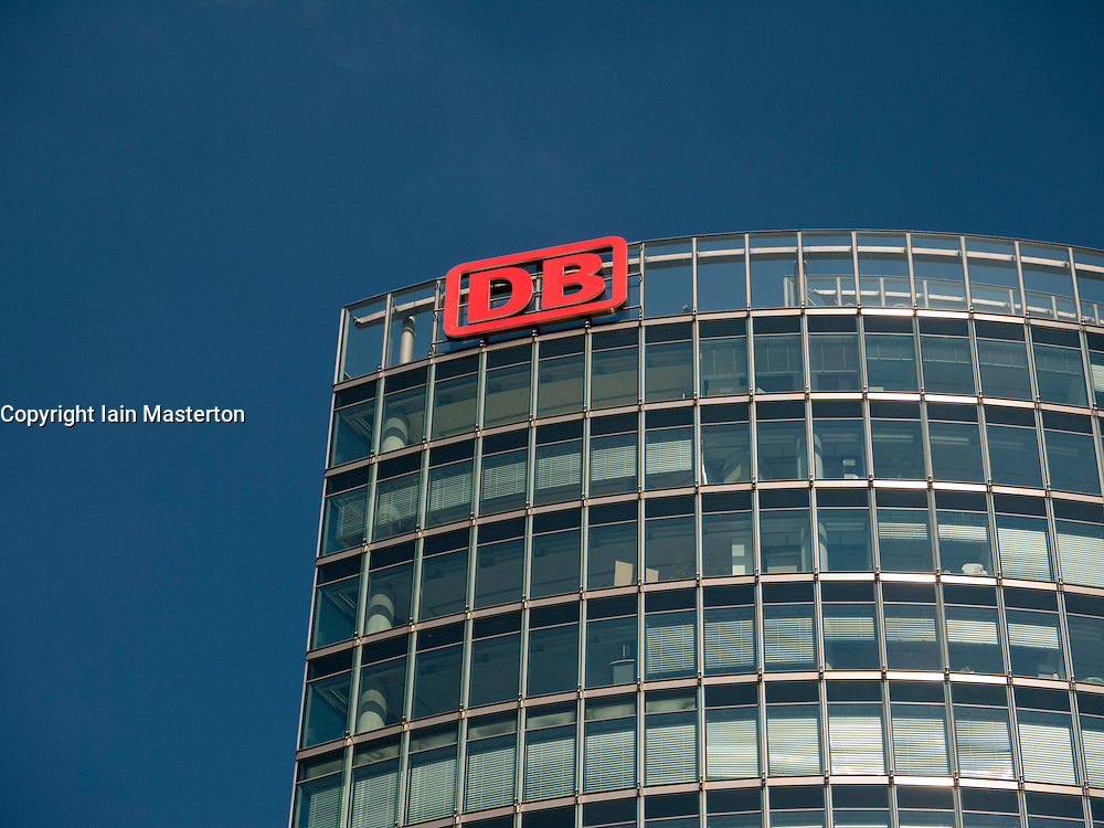 Detail of office tower headquarters of DB or Deutsche Bahn national railway company in Berlin Germany