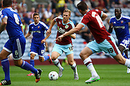 Rouwen Hennings of Burnley looks to run at the Brentford defence. Skybet football league championship match, Burnley  v Brentford at Turf Moor in Burnley, Lancs on Saturday 22nd August 2015.<br /> pic by Chris Stading, Andrew Orchard sports photography.