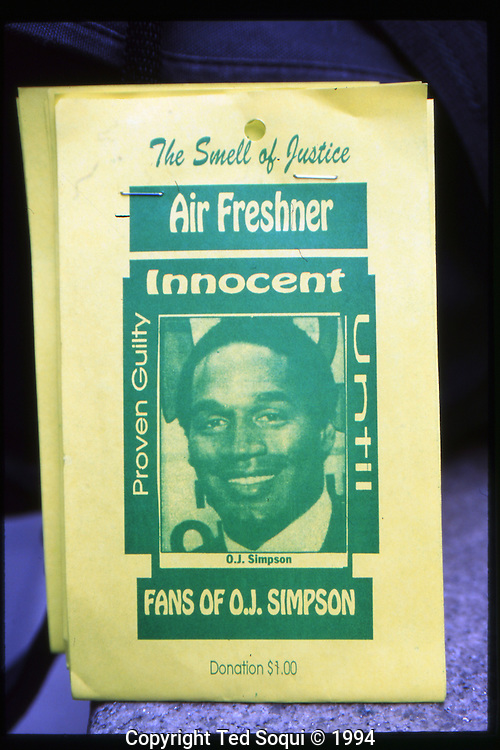 The OJ Simpson trial and media circus.<br /> Air freshener sold out front of the Criminal Courthouse where OJ Simpson is on trial for murder.