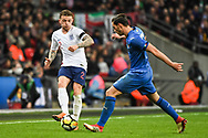England Defender Kieran Trippier (2) and Italy Defender Mattia De Sciglio (2) battle for the ball during the Friendly match between England and Italy at Wembley Stadium, London, England on 27 March 2018. Picture by Stephen Wright.