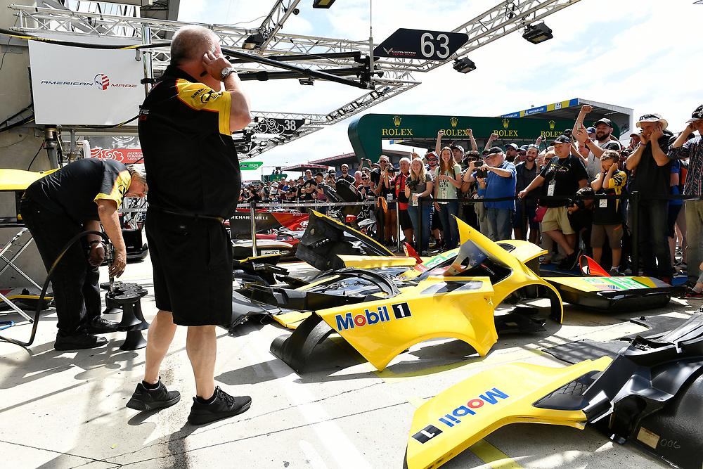 #63 Corvette Racing Chevrolet Corvette C7.R: Jan Magnussen, Antonio Garcia, Mike Rockenfeller, fans, atmosphere<br /> Friday 15 June 2018<br /> 24 Hours of Le Mans<br /> 2018 24 Hours of Le Mans<br /> Circuit de la Sarthe WI FR<br /> World Copyright: Scott R LePage