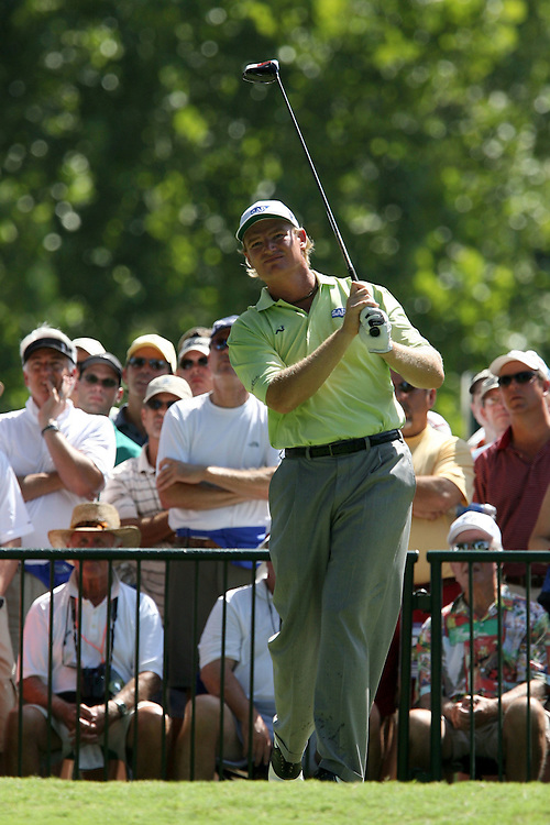09 August 2007: Ernie Els tees off on the 2nd hole during the first round of the 89th PGA Championship at Southern Hills Country Club in Tulsa, OK.