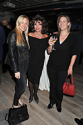 Left to right, ROSIE NIXON, JOAN COLLINS and FREDDIE SLOAN at a party to celebrate the publication of her  autobiography - The World According to Joan, held at the British Film Institute, South Bank, London SE1 on 8th September 2011.