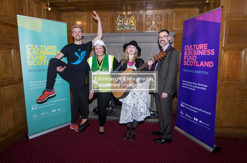 EMBARGOED UNTIL 00:01 3 APRIL 2017  FREE TO USE  FREE TO USE FREE TO USE<br /> Pictured: Sam Burkett, Y Dance, Laura Wilson, Bam Construction, Louise Quinn, Tromolo Productions, and Brain Inkster, Inkster Solicitors<br /> On Friday, Culture Secretary Fiona Hyslop visited Edinburgh Castle and launched the Culture & Business Fund Scotland. Funded by the Scottish Government via Creative Scotland and Historic Environment Scotland the fund will encourage the development of arts, heritage and business partnerships<br /> <br /> Ger Harley | EEm 31 March 2017