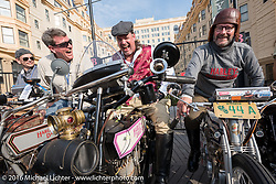 Erik Bahl of Alabama on his 1915 Harley-Davidson Model 11F, Scott Byrd of Arkansas with his 1916 Harley-Davidson Twin Cylinder and Bill Rodencal of Wisconsin on his 1915 Harley-Davidson Model 11-K Twin cylinder racer on the Atlantic City boardwalk for the start of the Motorcycle Cannonball Race of the Century. Stage-1 from Atlantic City, NJ to York, PA. USA. Saturday September 10, 2016. Photography ©2016 Michael Lichter.