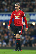 Zlatan Ibrahimovic of Manchester United looks on. Premier league match, Everton v Manchester United at Goodison Park in Liverpool, Merseyside on Sunday 4th December 2016.<br /> pic by Chris Stading, Andrew Orchard sports photography.