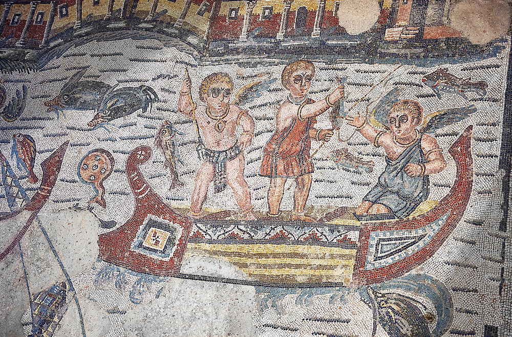 Detail of a Roman Mosaic from the Room of The Fishing Cupids, room 24, at the Villa Romana del Casale, first quarter of the 4th century AD. Sicily, Italy. A UNESCO World Heritage Site..  Wall art print by Photographer Paul E Williams If you prefer visit our World Gallery Print Shop To buy a selection of our prints and framed prints desptached  with a 30-day money-back guarantee and is dispatched from 16 high quality photo art printers based around the world. ( not all photos in this archive are available in this shop) https://funkystock.photoshelter.com/p/world-print-gallery .<br /> <br /> USEFUL LINKS:<br /> Visit our other HISTORIC AND ANCIENT ART COLLECTIONS for more photos to buy as wall art prints  https://funkystock.photoshelter.com/gallery-collection/Ancient-Historic-Art-Photo-Wall-Art-Prints-by-Photographer-Paul-E-Williams/C00002uapXzaCx7Y