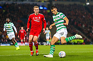 Callum McGregor (#42) of Celtic plays a cross into the penalty box during the Betfred Cup Final between Celtic and Aberdeen at Celtic Park, Glasgow, Scotland on 2 December 2018.