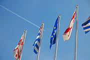 Georgian flags blowing in the wind in Batumi, Georgia