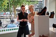 ATALANTA WELLER;  JOANNA TROLLOPE, Launch of Atalanta Weller's range of shoes at & The Convenience Store, Golborne Gdns.  Hazlewood Tower<br /> Golborne Gardens, London W10 5DT 24 August 2011.<br /> <br />  , -DO NOT ARCHIVE-© Copyright Photograph by Dafydd Jones. 248 Clapham Rd. London SW9 0PZ. Tel 0207 820 0771. www.dafjones.com.