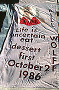 Close up of a panel on the AIDS Memorial Quilt that was spread out along the National Mall October 12, 1996 in Washington, DC.