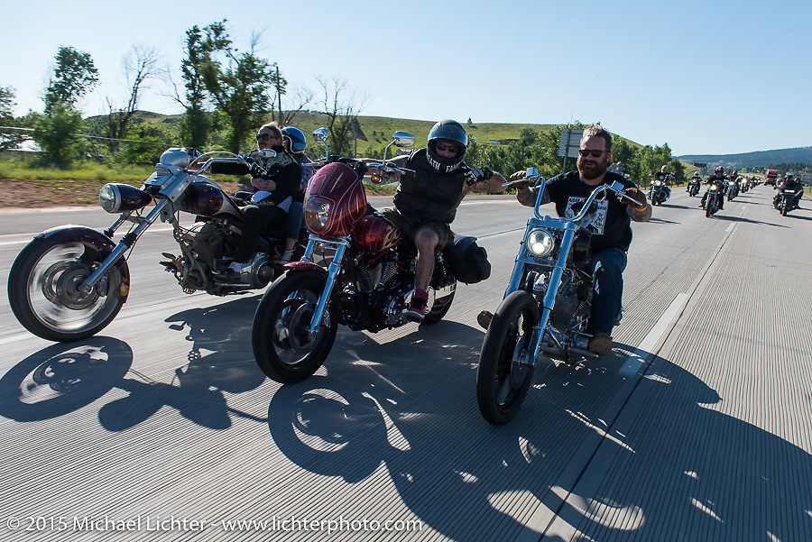 Aiden's Ride, dedicated to help raise awareness for ALD after Bobby Seeger Jr. of Indian Larry Motorcycles' son passed away from the disease, during the 75th Annual Sturgis Black Hills Motorcycle Rally.  SD, USA.  August 6, 2015.  Photography ©2015 Michael Lichter.