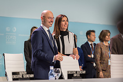2 December 2019, Madrid, Spain: Former COP president Michał Kurtyka congratulates Carolina Schmidt upon her election as new president of COP, as the 25th UN climate conference (COP25) opening plenaries take place  in Madrid.