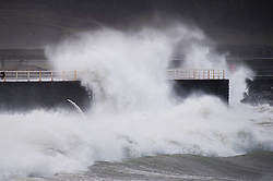 © London News Pictures. 09/03/2016 Aberystwyth, Wales, UK. Severe gales, with cold northerly winds gusting up to 70mph, bring monstrous waves to  Aberystwyth on the west wales coast UK. Photo credit: Keith Morris/LNP
