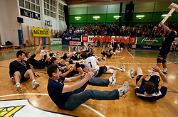 Players of UKO Kropa celebrate after the volleyball match between ACH Volley Bled and UKO Kropa at final of Slovenian National Championships 2011, on April 27, 2011 in Arena SGTS Radovljica, Slovenia. ACH Volley defeated Kropa 3-0 and became Slovenian National Champion 2011. (Photo By Vid Ponikvar / Sportida.com)