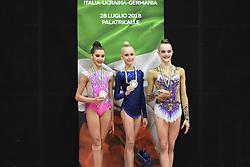 July 28, 2018 - Chieti, Abruzzo, Italy - Junior competition podium of the Rhythmic Gymnastics pre World Championship Italy-Ukraine-Germany at Palatricalle on 29th of July 2018 in Chieti Italy. (Credit Image: © Franco Romano/NurPhoto via ZUMA Press)