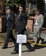 CHARLOTTESVILLE, VA - FEBRUARY 15: From left, UVa lacrosse player Chris Clements and former players Ken Clausen and William Bolton testified on the witness stand for the George Huguely trial. Huguely was charged in the May 2010 death of his girlfriend Yeardley Love. She was a member of the Virginia women's lacrosse team. Huguely pleaded not guilty to first-degree murder. (Credit Image: © Andrew Shurtleff