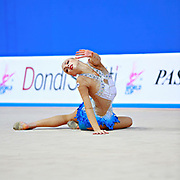 Staniouta Melitina during final at ball in Pesaro World Cup 03 April 2016. Melitina is an Belarusian rhythmic gymnast, she was born in 15 November 1993 Minsk. She is a three time World All-around bronze medalist in 2015,2013,2010 retired from rhythmic gymnastics in December 2016.